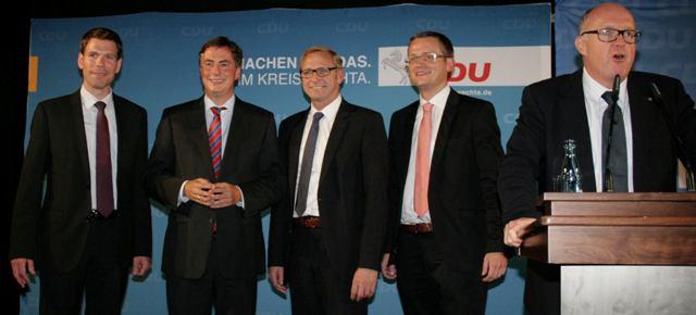 Christian Rüwe (BM-Kandidat Cappeln), David Mc Allister MdL, Franz-Josef Holzenkamp MdB, Tobias Averbeck (BM-Kandidat Bakum) und Dr. Stephan Siemer MdL
