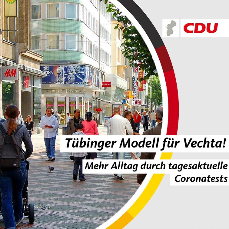 CDU Kreisverband Vechta fordert Erprobung des Tübinger Modells in Niedersachsen!